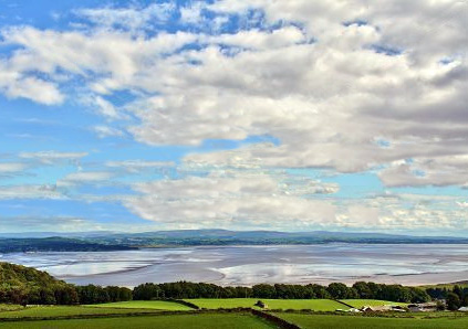 View over Farm and Morecambe Bay